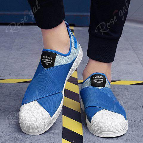 Chic Elastic Band Stretch Fabric Casual Shoes - 43 BLUE Mobile