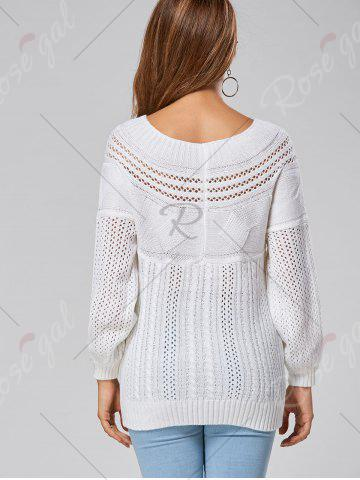 Shop Casual Hollow Out Cable Knit Sweater - M WHITE Mobile