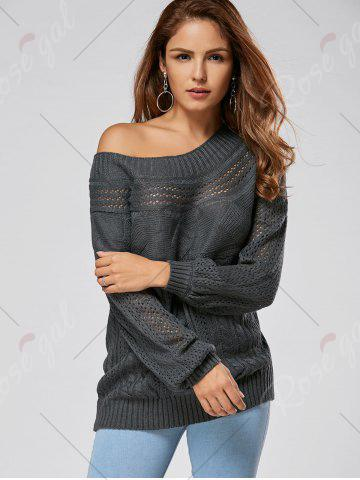 Store Casual Hollow Out Cable Knit Sweater - M GRAY Mobile