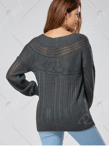 Online Casual Hollow Out Cable Knit Sweater - M GRAY Mobile