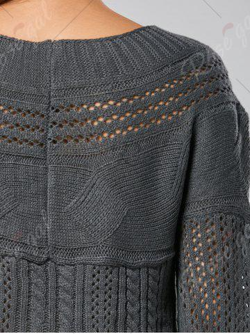 Discount Casual Hollow Out Cable Knit Sweater - M GRAY Mobile