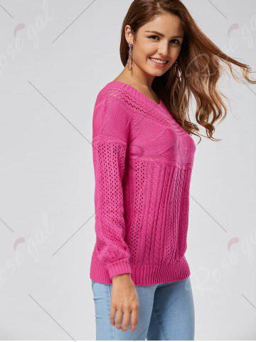 Online Casual Hollow Out Cable Knit Sweater - M TUTTI FRUTTI Mobile