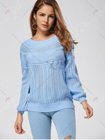 Discount Casual Hollow Out Cable Knit Sweater - 2XL BLUE Mobile
