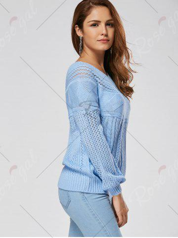 Store Casual Hollow Out Cable Knit Sweater - XL BLUE Mobile