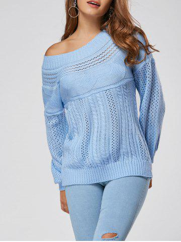 Discount Casual Hollow Out Cable Knit Sweater BLUE L
