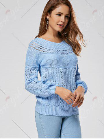 Store Casual Hollow Out Cable Knit Sweater - L BLUE Mobile