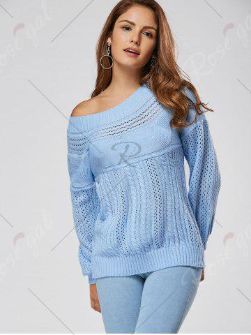 Outfits Casual Hollow Out Cable Knit Sweater - L BLUE Mobile