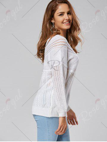 Discount Casual Hollow Out Cable Knit Sweater - L WHITE Mobile