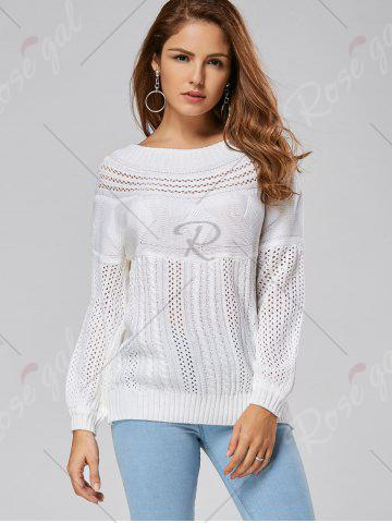 Outfit Casual Hollow Out Cable Knit Sweater - L WHITE Mobile