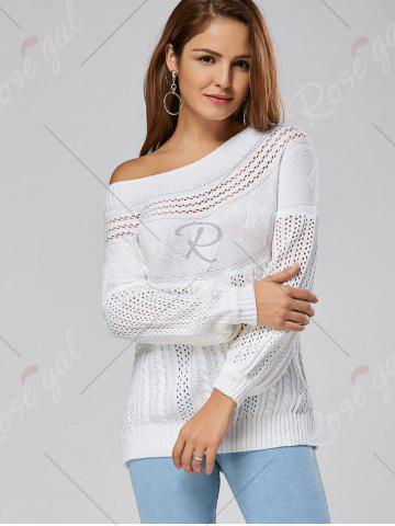 Discount Casual Hollow Out Cable Knit Sweater - S WHITE Mobile