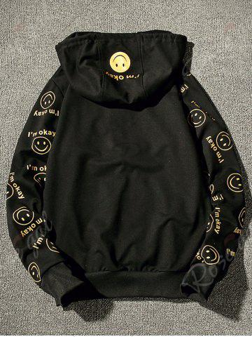 Chic Front Pocket Smile Face Print Zip Up Hoodie - S BLACK Mobile