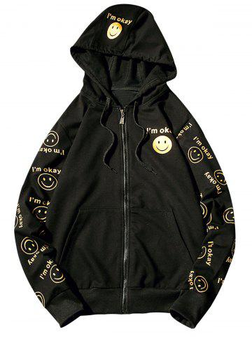 Cheap Front Pocket Smile Face Print Zip Up Hoodie - S BLACK Mobile