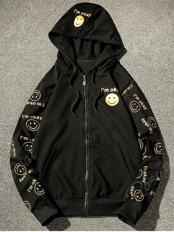 Sale Front Pocket Smile Face Print Zip Up Hoodie - S BLACK Mobile
