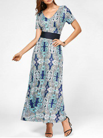 V Neck Maxi Printed Dress with Belt - Colormix - S