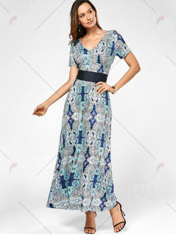 Fashion V Neck Maxi Printed Dress with Belt - S COLORMIX Mobile