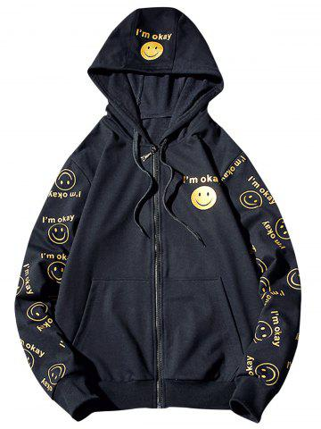 Store Front Pocket Smile Face Print Zip Up Hoodie - 3XL CADETBLUE Mobile