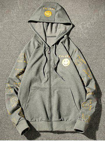 Outfits Front Pocket Smile Face Print Zip Up Hoodie - 3XL GRAY Mobile