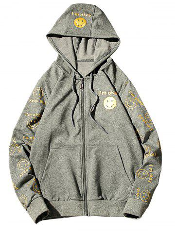 Discount Front Pocket Smile Face Print Zip Up Hoodie - 3XL GRAY Mobile