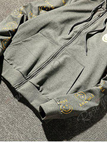 Trendy Front Pocket Smile Face Print Zip Up Hoodie - 3XL GRAY Mobile