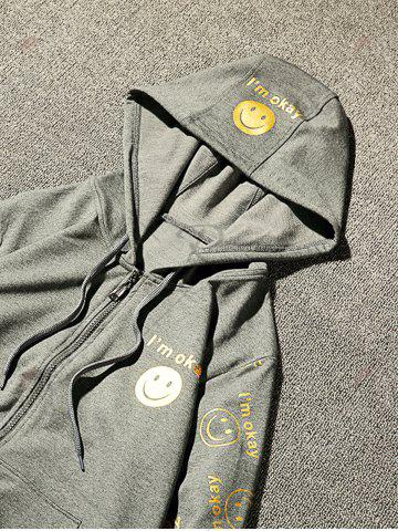 Fancy Front Pocket Smile Face Print Zip Up Hoodie - 3XL GRAY Mobile