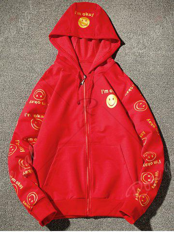 New Front Pocket Smile Face Print Zip Up Hoodie - 3XL RED Mobile