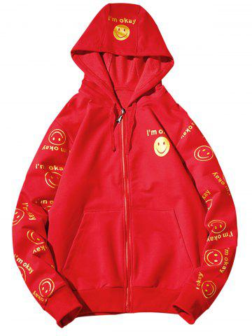 Affordable Front Pocket Smile Face Print Zip Up Hoodie - 3XL RED Mobile
