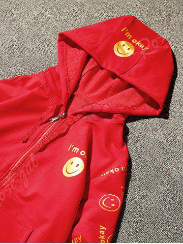 Trendy Front Pocket Smile Face Print Zip Up Hoodie - 3XL RED Mobile