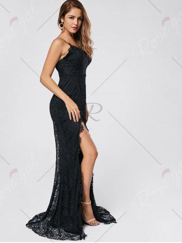 Trendy Slit Lace Slip Maxi Cocktail Party Dress - S BLACK Mobile