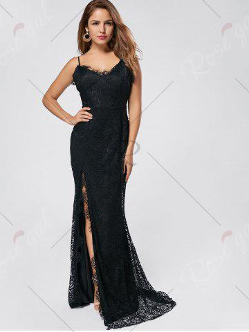 Fancy Slit Lace Slip Maxi Cocktail Party Dress - S BLACK Mobile