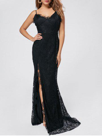Latest Slit Lace Slip Maxi Cocktail Party Dress - S BLACK Mobile