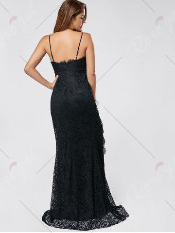 Cheap Slit Lace Slip Maxi Cocktail Party Dress - S BLACK Mobile