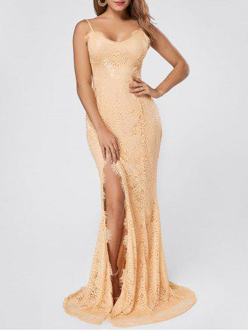 Slit Lace Slip Maxi Cocktail Party Dress Abricot S