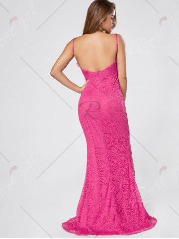 Store Slit Lace Slip Maxi Cocktail Party Dress - S ROSE RED Mobile