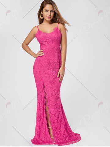 Store Slit Lace Slip Maxi Cocktail Party Dress - M ROSE RED Mobile