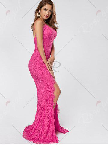 Hot Slit Lace Slip Maxi Cocktail Party Dress - M ROSE RED Mobile