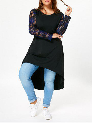 Store Lace Sleeve Plus Size High Low T-shirt Dress - 5XL BLACK Mobile