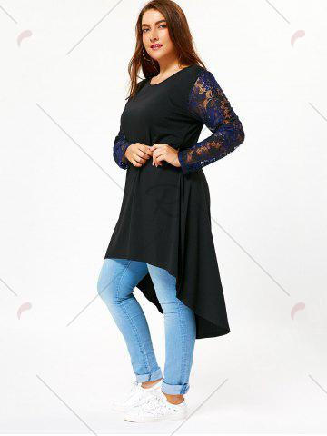 Hot Lace Sleeve Plus Size High Low T-shirt Dress - 5XL BLACK Mobile