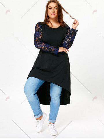 Buy Lace Sleeve Plus Size High Low T-shirt Dress - 5XL BLACK Mobile
