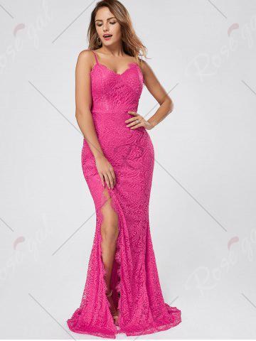 Latest Slit Lace Slip Maxi Cocktail Party Dress - L ROSE RED Mobile