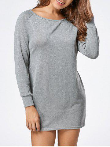 Discount Long Sleeve Jersey Tunic Top GRAY XL