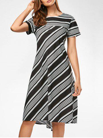 Shops Casual Midi A Line Striped Dress - S STRIPE Mobile