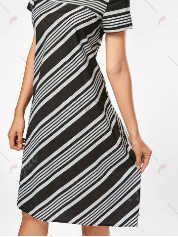 Hot Casual Midi A Line Striped Dress - S STRIPE Mobile