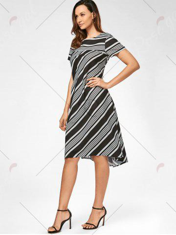 Chic Casual Midi A Line Striped Dress - S STRIPE Mobile