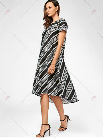 Store Casual Midi A Line Striped Dress - S STRIPE Mobile