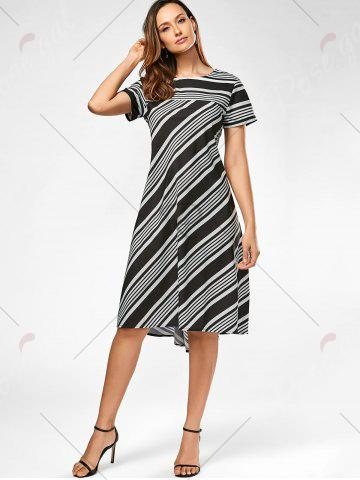 Sale Casual Midi A Line Striped Dress - S STRIPE Mobile