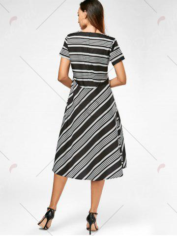 Buy Casual Midi A Line Striped Dress - S STRIPE Mobile