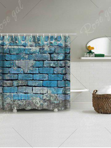 Buy Vintage Brick Wall Decorative Fabric Shower Curtain - W71 INCH * L71 INCH LIGHT BLUE Mobile
