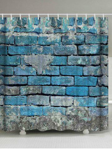 Discount Vintage Brick Wall Decorative Fabric Shower Curtain - W71 INCH * L71 INCH LIGHT BLUE Mobile