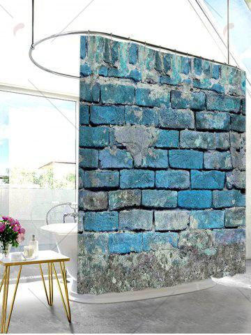 Best Vintage Brick Wall Decorative Fabric Shower Curtain - W71 INCH * L79 INCH LIGHT BLUE Mobile