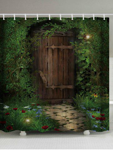 Hot Fairy Forest Wood Door Printed Shower Curtain - W59 INCH * L71 INCH DEEP GREEN Mobile